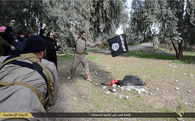 ISIS released photos of an accused adulteress stoned to death in Raqqa.