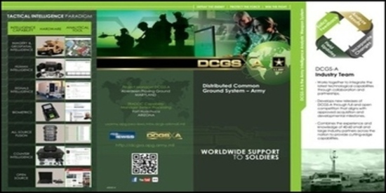 This image provided by the U.S. Army shows a page from a brochure about the Distributed Common Ground System. Military bureaucrats have been trying to force the use of DCGS, an unpopular government-built intelligence system on special operations units deploying to war zones while blocking soldiers from using the commercial alternative they say they need. US ARMY/AP