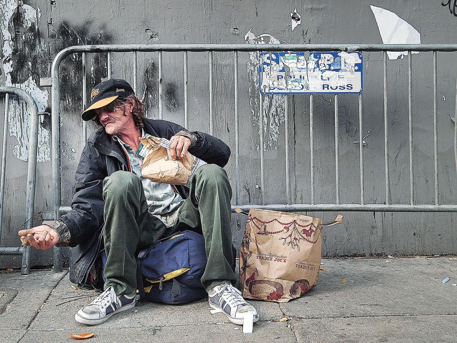 Gary (last name not given) is homeless and lives on the street in the Tenderloin district of San Francisco