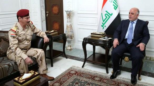 Prime Minister Haider. right with Abdulla al-Jubori
