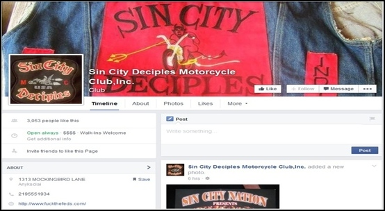 A screen grab from the Sin City Desciples Facebook page. According to a federal report, outlaw motorcycle clubs, which include the Sin City Desciples, are pushing efforts to add active-duty troops to their ranks. Screenshot Credit, Stars and Stripes