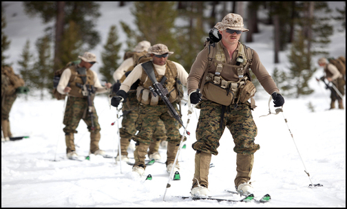 U.S. Marine Corps Lance Cpl. Justin Hoppis skis with his fellow Marines during ski tour training conducted at the Mountain Warfare Training Center in Bridgeport, Calif.  (Photo: Public domain)