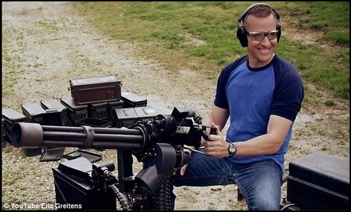 Former Navy Seal, Eric Greitens, with the machine gun, grins his way through the campaign. (Photo: Public Domain)